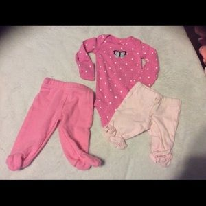 Preemie pants and long sleeve onesie pink